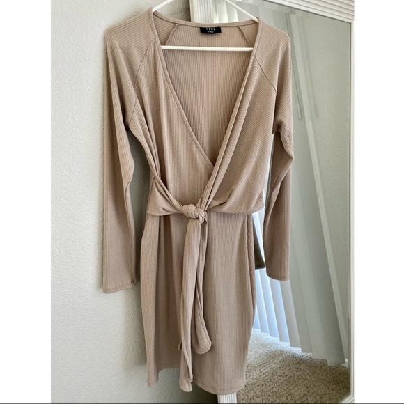 Vici Beige Knit Wrap Dress